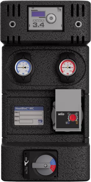 PAW – HeatBloC MC43 DN 25 3-Wege Mischer mit Bypass Motor SR10, Mcom 3.4 Grundfos UPM3 Hybrid 25-70