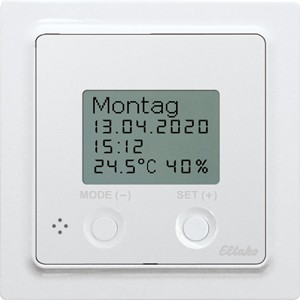 ELTAKO – Funksensor Uhren-Thermo-Hygrostat - FUTH55D/12-24V UC-wg (reinweiß-glänzend)